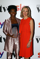 Lisa Campbell (right) presented Michaela Coel with the FremantleMedia UK new talent award at the Women in Film & TV Awards at the Hilton hotel in central London.