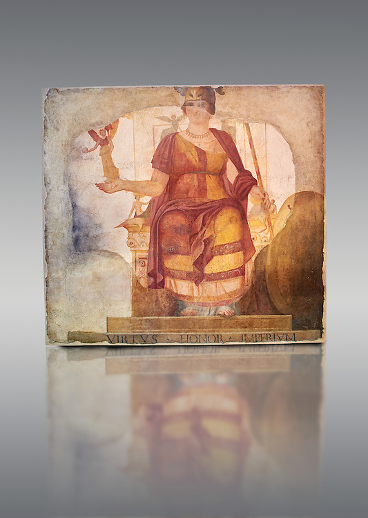 """Fresco of Venus sitting restored as Roma  known as the """"Dea Barberini"""" (""""Barberini goddess""""), dating from the first quarter of the fourth century. A.D, excavated near to Baptistery of St. John Lateran , Rome Museo Nazionale Romano ( National Roman Museum), Rome, Italy. Against a grey background. .<br /> <br /> If you prefer to buy from our ALAMY PHOTO LIBRARY  Collection visit : https://www.alamy.com/portfolio/paul-williams-funkystock/national-roman-museum-rome-fresco.html<br /> <br /> Visit our ROMAN ART & HISTORIC SITES PHOTO COLLECTIONS for more photos to download or buy as wall art prints https://funkystock.photoshelter.com/gallery-collection/The-Romans-Art-Artefacts-Antiquities-Historic-Sites-Pictures-Images/C0000r2uLJJo9_s0"""
