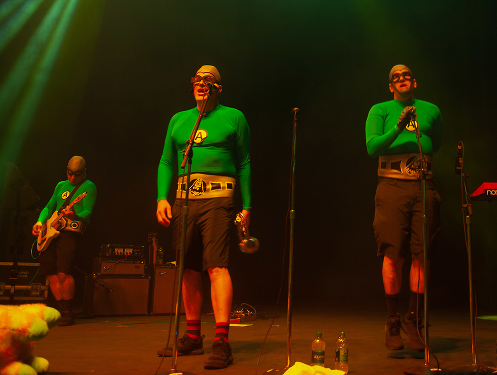 Chainsaw the Prince of Karate, Catboy and Jimmy the Robot of The Aquabats! performing at Pacific Amphitheatre August 14, 2021. (Photo by Miguel Vasconcellos, OC Fair & Event Center)