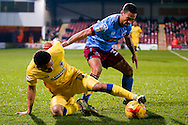AFC Wimbledon forward Andy Barcham (17) controls the ball on the floor during the EFL Sky Bet League 1 match between Scunthorpe United and AFC Wimbledon at Glanford Park, Scunthorpe, England on 28 February 2017. Photo by Simon Davies.