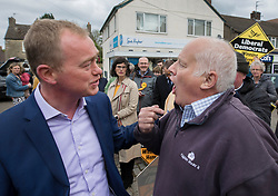 © Licensed to London News Pictures. 03/05/2017. Kidlington, UK. Local resident Malcom Baker (R) argues with Liberal Democrat leader Tim Farron during a campaign stop in Kidlington. Photo credit: Peter Macdiarmid/LNP