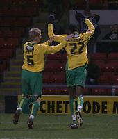 Photo: Mark Stephenson.<br />Crewe Alexander v Swansea City. Coca Cola League 1. 26/12/2006.<br />Swansea's Dennis Lawrence celebrates with team mate Alan Tate.