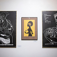 """Artwork by Professor Dana C. Chandler as part of his """"Hannah's Reparations Denied: 500 years of AmeriKKKa's Kontribution to the Black Woman/Black Man"""" exhibit at the Ingham Chapman Gallery on the UNM-Gallup campus. The exhibit opened Feb. 3 and will run till Feb. 28."""