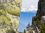 Through a slot of rock covered in yellow lichen, view Glacier Peak (10,541 feet). Hike 6 miles round trip and 2300 feet vertical gain to a fire lookout on Mount Pilchuck (5324 feet) in Mount Pilchuck State Park, Washington, USA. Glacier Peak, which rises to elevation 10,541 feet in Glacier Peak Wilderness, is the most isolated of the five major stratovolcanoes (composite volcanoes) of the Cascade Volcanic Arc in Washington. Glacier Peak formed during the Pleistocene epoch (about 1 million years ago) and is one of the most active of Washington's volcanoes, erupting explosively five times in the past 3,000 years.