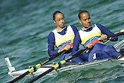 Munich, GERMANY,  VEN LW 2X. Bow, Kimberlyn MENESES and Ana SANTOYO At the start, during the FISA World Cup at the Munich Olympic Rowing Course, Thur's.  08.05.2008  [Mandatory Credit Peter Spurrier/ Intersport Images] Rowing Course, Olympic Regatta Rowing Course, Munich, GERMANY