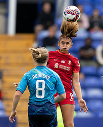 BIRKENHEAD, ENGLAND - Sunday, August 29, 2021: Liverpool's Jade Bailey heads the ball during the FA Women's Championship game between Liverpool FC Women and London City Lionesses FC at Prenton Park. London City won 1-0. (Pic by Paul Currie/Propaganda)
