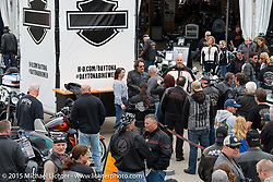 "Actor Kim Coates known for his roll as ""Tig"" on the Sons of Anarchy TV series poses with fans during an autograph signing session at the popular Harley-Davidson display at Daytona International Speedway on the first day of Daytona Beach Bike Week 2015. FL, USA. Saturday, March 7, 2015.  Photography ©2015 Michael Lichter."