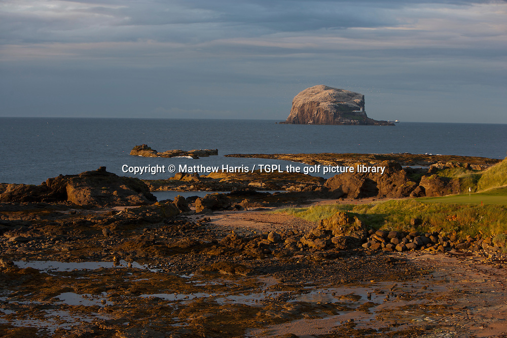 13th par 3 (148 yards) green with the famous Bass Rock in the background at The Glen during an evening round at The Glen,North Berwick,East Lothian,Scotland.