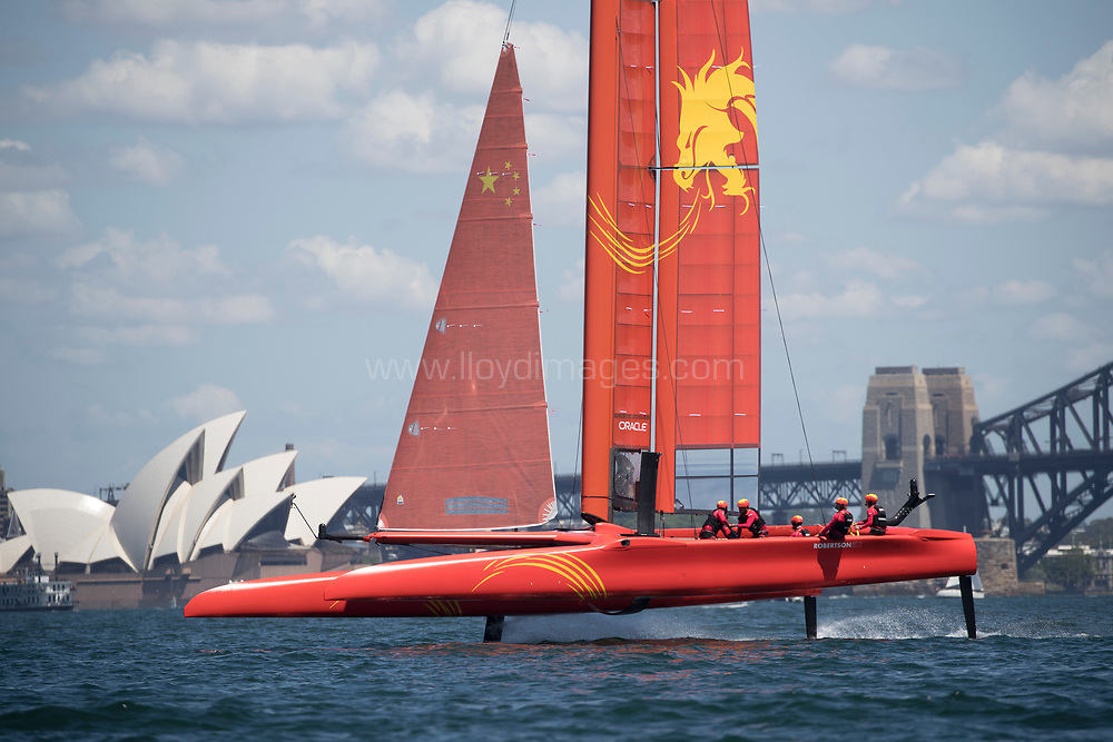Sydney Harbour. Sydney. Austrailia. Pictures of the Sail GP team in action with the fleet on the first day of practise racing their F50 foiling catamarans.<br /> <br /> Credit - Lloyd Images