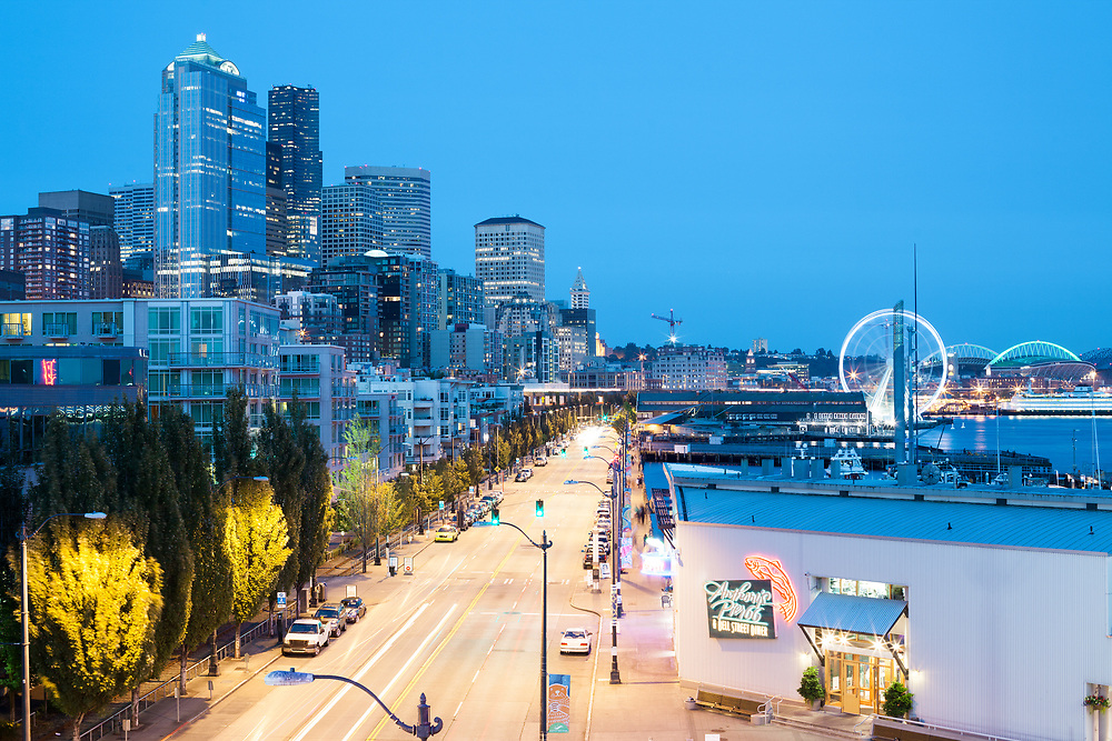 Seattle, Washington State, United States - July 06, 2012: A night view of the waterfront at downtown.