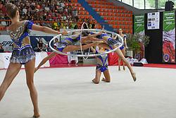 July 28, 2018 - Chieti, Abruzzo, Italy - Rhythmic gymnastics team of Italy performs its 5 hoops routine during the Rhythmic Gymnastics pre World Championship Italy-Ukraine-Germany at Palatricalle on 29th of July 2018 in Chieti Italy. (Credit Image: © Franco Romano/NurPhoto via ZUMA Press)