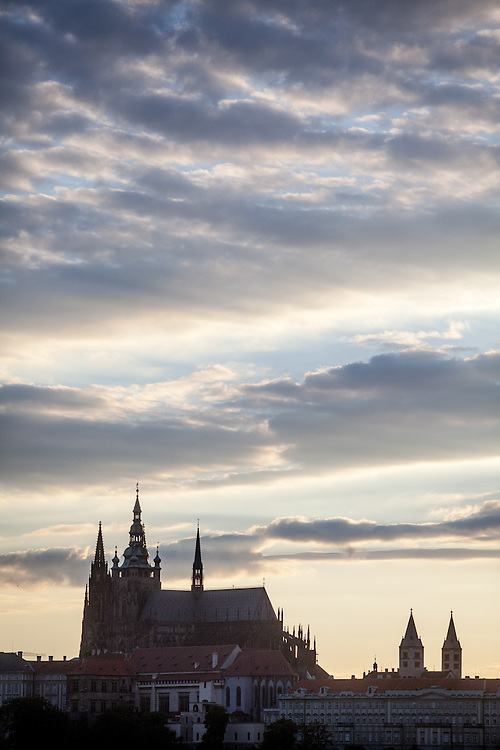 Prague Castle seen form Old Town townhall tower during sundown.