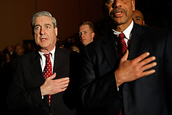 May 17, 2017 - FILE PHOTO - The Justice Department on Wednesday named ROBERT MUELLER as special counsel to oversee the department's investigation into Russian meddling in the 2016 election. Mueller III served as FBI director from 2001 through 2013. Pictured: March 27, 2009 - Washington, District of Columbia - Federal Bureau of Investigation (FBI) Director Robert Mueller (L) recites the Pledge of Allegiance during the ceremonial installation for U.S. Attorney General Eric Holder at George Washington University. (Credit Image: © Chip Somodevilla/CNP via ZUMA Wire)