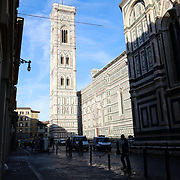 FLORENCE, ITALY - OCTOBER 31: <br /> The exterior of Florence's Cathedral, Basilica di Santa Maria del Fiore, known as Duomo in Florence, Italy. The Duomo is the main church of the city of Florence. Construction was started in 1296 in the Gothic style with the structure completed in 1436. The famous dome was designed by Arnolfo di Cambio and engineered by Filippo Brunelleschi. Florence, Italy, 31st October 2017. Photo by Tim Clayton/Corbis via Getty Images)