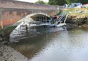 Repair work taking place to Wilford Bridge, River Deben, Melton, Suffolk, England, UK