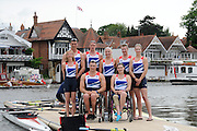 Henley, Great Britain.  Paralympic GB Team Announcement, the Paralympic Rowing Team. Back row from left, Nick BEIGHTON, David SMITH, Pamela RELPH, James ROE, Naomi RICHES, Front Row, from Left, Lily VAN DEN BROECKE, Tom AGGAR, Sam SCOWEN Henley Royal Regatta. River Thames Henley Reach.  Royal Regatta. River Thames Henley Reach.  Wednesday  27/06/2012  [Mandatory Credit  Karon Phillips/ Intersport Images] . HRR. . HRR.
