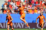 VALENCIENNES, FRANCE - JUNE 29:  Stefanie Van der Gragt of the Netherlands celebrates after scoring her team's second goal during the 2019 FIFA Women's World Cup France Quarter Final match between Italy and Netherlands at Stade du Hainaut on June 29, 2019 in Valenciennes, France. (Photo by Maddie Meyer - FIFA/FIFA via Getty Images)