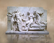 Roman Relief panel of Greek Alcibiades and the prostitute Etere. Inv 6688 - Farnese collection, Naples Museum of Archaeology, Italy ..<br /> <br /> If you prefer to buy from our ALAMY STOCK LIBRARY page at https://www.alamy.com/portfolio/paul-williams-funkystock/greco-roman-sculptures.html . Type -    Naples    - into LOWER SEARCH WITHIN GALLERY box - Refine search by adding a subject, place, background colour, museum etc.<br /> <br /> Visit our ROMAN WORLD PHOTO COLLECTIONS for more photos to download or buy as wall art prints https://funkystock.photoshelter.com/gallery-collection/The-Romans-Art-Artefacts-Antiquities-Historic-Sites-Pictures-Images/C0000r2uLJJo9_s0