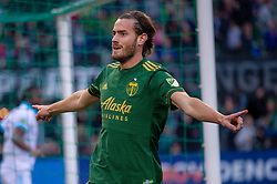 November 4, 2018 - Portland, OR, U.S. - PORTLAND, OR - NOVEMBER 04: Portland Timbers forward Lucas Melano celebrates a goal before referee Ted Unkel disallows it for offside during the Portland Timbers first leg of the MLS Western Conference Semifinals against the Seattle Sounders on November 04, 2018, at Providence Park in Portland, OR. (Photo by Diego Diaz/Icon Sportswire) (Credit Image: © Diego Diaz/Icon SMI via ZUMA Press)