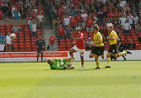 Photo: Steve Bond/Richard Lane Photography.<br />Nottingham Forest v Watford. Coca-Cola Football League Championship. 23/08/2008. Rob Earnshaw (2nd L) lifts the ball over keeper Mart Poom to score no2
