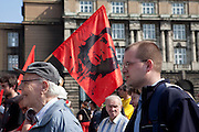 Demonstration against the planned US military radar base in Czech Republic on the day of Barack Obamas arrivel to Prague.