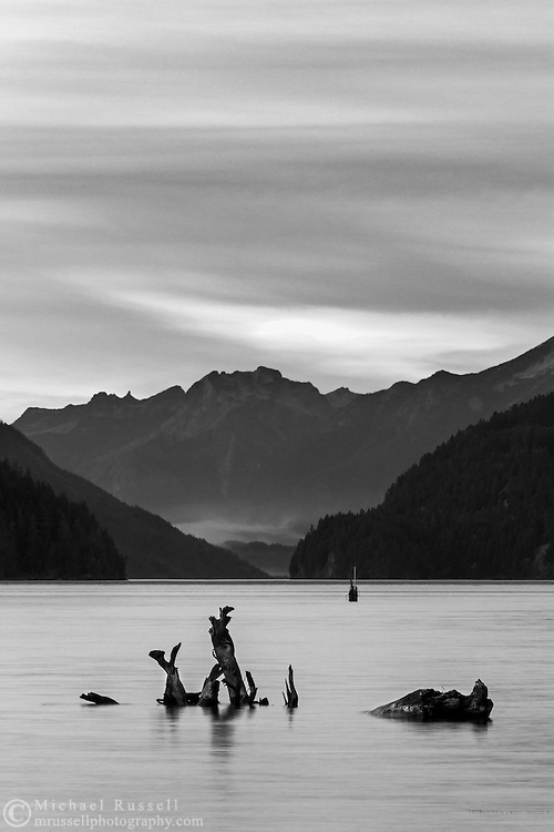 Mount Breakenridge and Harrison Lake at Sunset.  Photographed from the shore of Harrison Lake in Harrison Hot Springs, British Columbia, Canada.