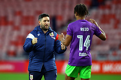 Bristol City head coach Lee Johnson celebrates with goalscorer Bobby Reid of Bristol City after the win over Sunderland - Mandatory by-line: Robbie Stephenson/JMP - 28/10/2017 - FOOTBALL - Stadium of Light - Sunderland, England - Sunderland v Bristol City - Sky Bet Championship