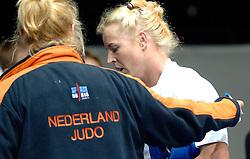 28-05-2006 JUDO: EUROPEES KAMPIOENSCHAP: TAMPERE FINLAND<br /> De 32-jarige judoka was in de eerste ronde te sterk voor Czepukojc (POL), maar moest in de volgende ronde zich gewonnen geven tegen de sterke Lebrun (FRA). De beslissing in deze partij viel niet door een score van een van de judoka's maar op beslissing van de arbitrage. In de herkansingen verloor Zwiers tegen Tsimashenka (BLR<br /> ©2006-WWW.FOTOHOOGENDOORN.NL