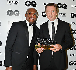 Left to right, SAMUEL L JACKSON and LIAM NEESON winner of the Editor's Special Award at the GQ Men Of The Year 2014 Awards in association with Hugo Boss held at The Royal Opera House, London on 2nd September 2014.