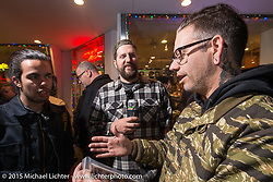 Warren Heir Jr and Scott Jones at the Mooneyes Yokohama Hot Rod & Custom Show after-party at Mooneyes headquarters. Yokohama, Japan. December 7, 2015.  Photography ©2015 Michael Lichter.