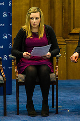 Pictured: Georgina Sheilds (student from Glasgow)<br /> <br /> The People Politics Hustings,  organised by the Church of Scotland, allowed voters to question SNP deputy John Swinney, Scottish Labour leader Kezia Dugdale, Scottish Liberal Democrat leader Willie Rennie, Scottish Greens co-convener Patrick Harvie and former Scottish Conservatives leader Annabel Goldie ahead of the Scottish Elections. Before the politicians had a chance to speak they had a chance to listen to five speakers with different viewpoints on how Scotland has supported them in the past and how it should support them in the future..<br /> Ger Harley | EEm 4 April 2016
