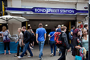 Entrance to Bond Street underground station in central London.