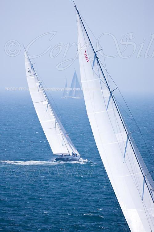 Ranger and Hanuman, J Class, sailing in race 1 during the Newport Bucket Regatta.