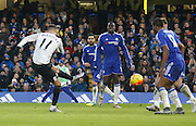 Everton midfielder Kevin Mirallas fires home Everton's second goal to put them 2 goals up during the Barclays Premier League match between Chelsea and Everton at Stamford Bridge, London, England on 16 January 2016. Photo by Andy Walter.