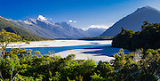 Panoramic view of the Arawhata River and the Haast Range of the Southern Alps, West Coast, New Zealand.
