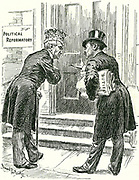 Reform of the House of Lords: Tariff reform making way for debate on the Lords.  Bernard Partridge cartoon from 'Punch', London, 7 December 1910.