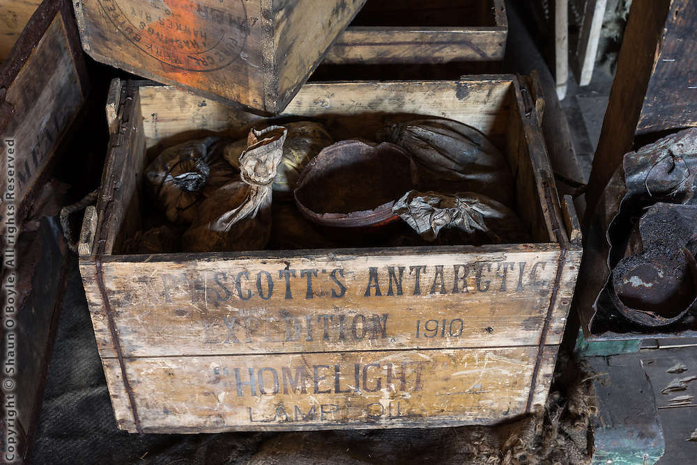 Supply cases brought to Discovery Hut from Scott's Terra Nova hut at Cape Royds