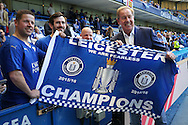 Alan Birchenall, the Leicester City club ambassador poses with a Champions Flag with Leicester City fans inside Stamford Bridge before k/o. Barclays Premier league match, Chelsea v Leicester city at Stamford Bridge in London on Sunday 15th May 2016.<br /> pic by John Patrick Fletcher, Andrew Orchard sports photography.