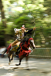Asia, Japan, Honshu island, Kanagawa Prefecture, Kamakura, mounted archer during Yabusame, a revival of medieval samurai archery on horseback, at Kamakura Matsuri, an annual festival held at the Tsurugaoka Hachimangu shrine