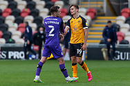 Tranmere Rover's Lee O'Connor (2) shakes hands with Newport County's Scott Twine (19) after the EFL Sky Bet League 2 match between Newport County and Tranmere Rovers at Rodney Parade, Newport, Wales on 17 October 2020.