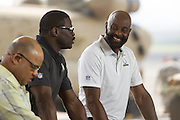 January 27 2016: Hall of Famers Michael Irvin and Jerry Rice choose their teams for the Pro Bowl Draft at Wheeler Army Base on Oahu, HI. (Photo by Aric Becker/Icon Sportswire)