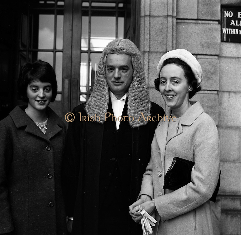 05/3/1965<br /> 3/5/1965<br /> 5 March 1965<br /> <br /> Mr. J.H.G. Lovatt-Dolan of Roebuck Rd. Dublin who was called to the Innerar at the Supreme Court, Four Courts, Dublin by the Chief Justice on Friday 5/3/1965, Pictured with his Wife Mrs, Elizibeth Lovatt-Dolan and his Daughter Mary