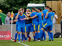 Football - 2021 / 2022 Emirates FA Cup - First Round Qualifying - Bootle vs. FC United of Manchester - Berry Street Garage Stadium - Saturday 4th September 2021<br /> <br /> Jordan Wynne of Bootle celebrates at the corner flag with his team mates after he scored to make it 2-2 in the 90th minute, at the Berry Street Garage Stadium.<br /> <br /> COLORSPORT/Alan Martin