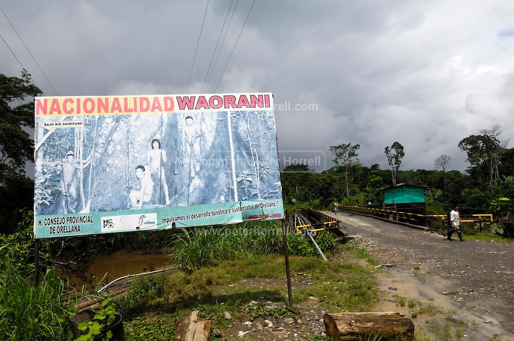 Ecuador, May 10 2010: Sign indicating the start of the Huaorani Territory. Copyright 2010 Peter Horrell