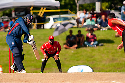 September 22, 2018 - Morrisville, North Carolina, US - Sept. 22, 2018 - Morrisville N.C., USA - Team USA STEVEN TAYLOR (8) in bat during the ICC World T20 America's ''A'' Qualifier cricket match between USA and Canada. Both teams played to a 140/8 tie with Canada winning the Super Over for the overall win. In addition to USA and Canada, the ICC World T20 America's ''A'' Qualifier also features Belize and Panama in the six-day tournament that ends Sept. 26. (Credit Image: © Timothy L. Hale/ZUMA Wire)