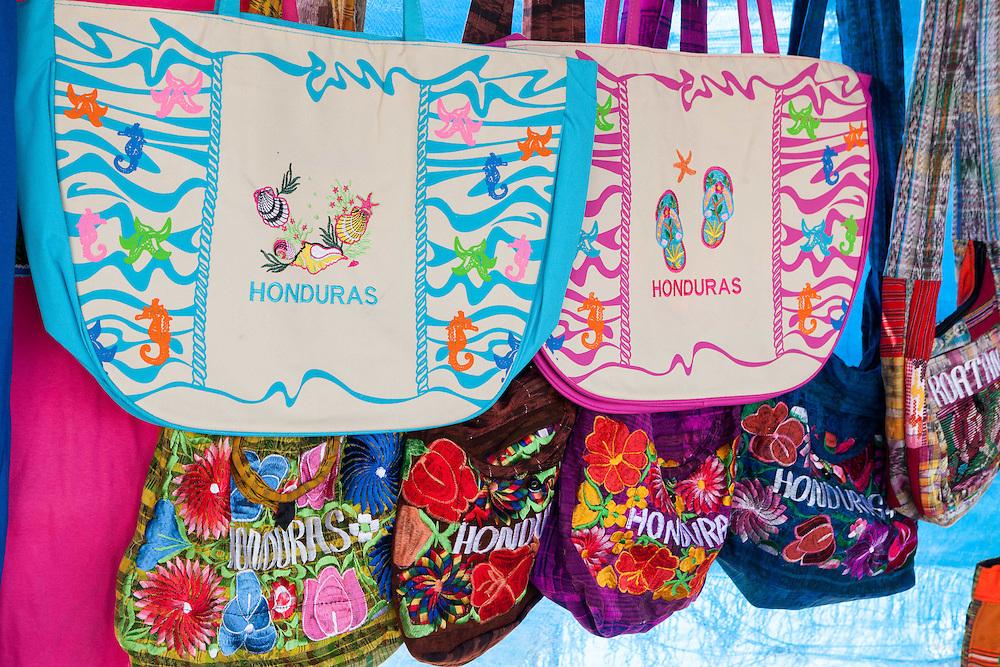 Colorful souvenir bags in Honduras.
