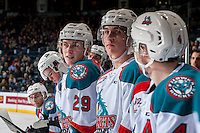 KELOWNA, CANADA - FEBRUARY 1: Brothers Nolan Foote #29 and Cal Foote #25 of the Kelowna Rockets stand on the bench against the Calgary Hitmen on February 1, 2017 at Prospera Place in Kelowna, British Columbia, Canada.  (Photo by Marissa Baecker/Shoot the Breeze)  *** Local Caption ***
