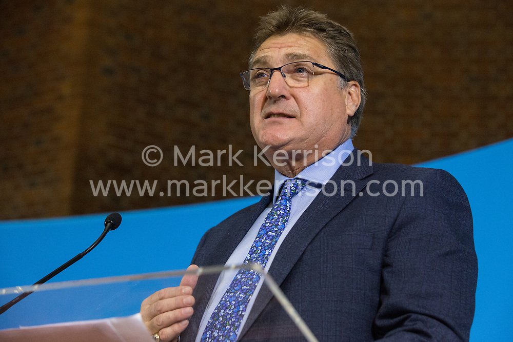 London, UK. 6 December, 2019. Gregory Butt MBE, retired Colonel and Brexit Party parliamentary candidate for Hyndburn, speaks at the launch of the Brexit Party Defence and Veterans' Affairs policy statements at an event in Westminster.