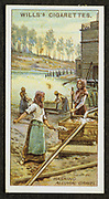 Women washing the precious metal Platinum from alluvial gravels. Urals, Russia. 1916.  Card published 1916.  Chromolithograph.