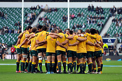 The Australia squad huddle together prior to the match - Photo mandatory by-line: Patrick Khachfe/JMP - Mobile: 07966 386802 29/11/2014 - SPORT - RUGBY UNION - London - Twickenham Stadium - England v Australia - QBE Internationals